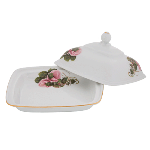 Butter Dish Pink Roses