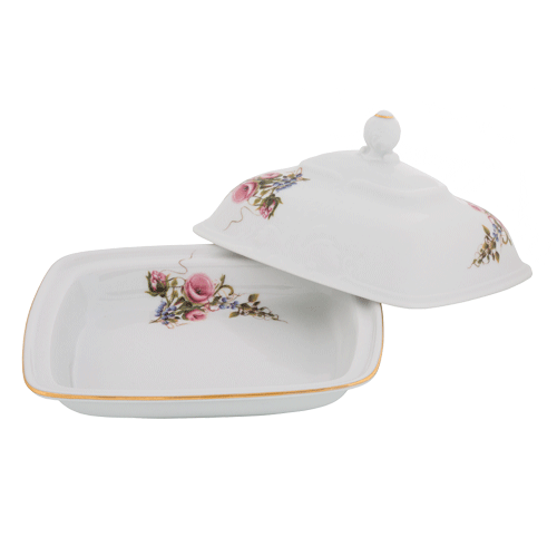 Butter Dish Pink Buds