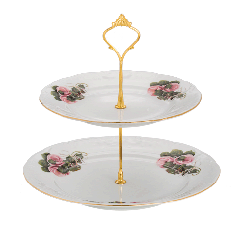 2 Tier Cake Stand White Gold